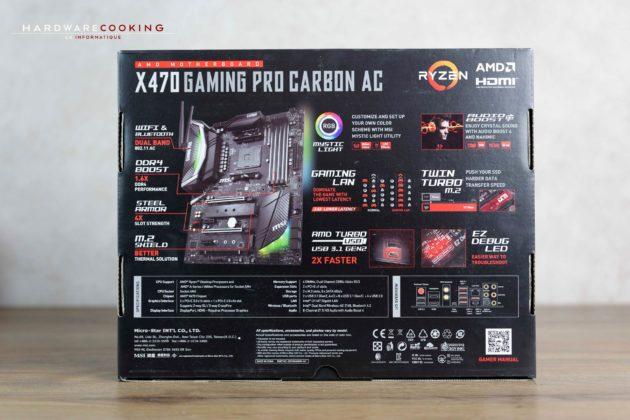 Test carte mère MSI X470 GAMING PRO CARBON AC