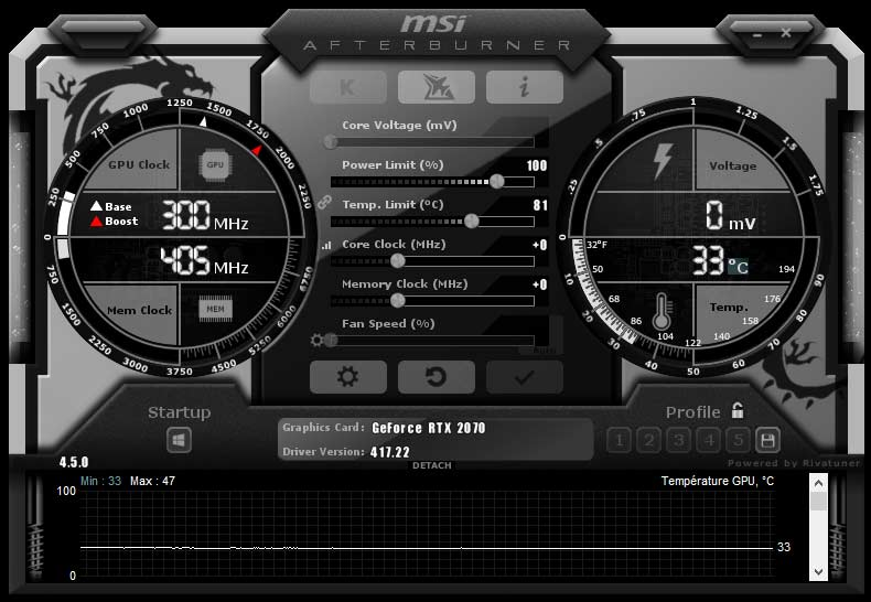 Test carte graphique MSI RTX 2070 GAMING Z 8G MSI AfterBurner