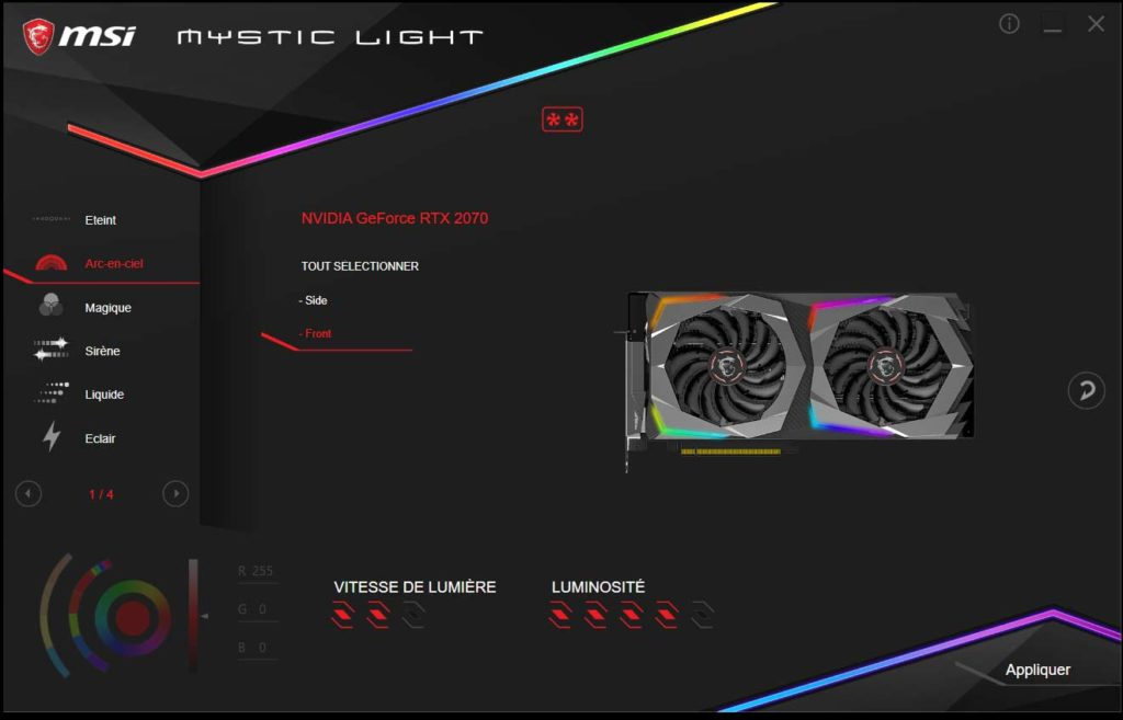 Test carte graphique MSI RTX 2070 GAMING Z 8G Mystic Light