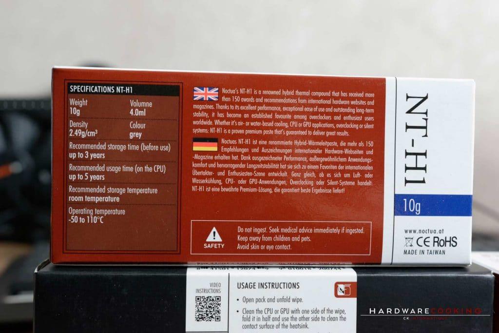 Test pâte thermique Noctua NT-H2 et NT-H1 avec cleaning wipes NA-SCW1