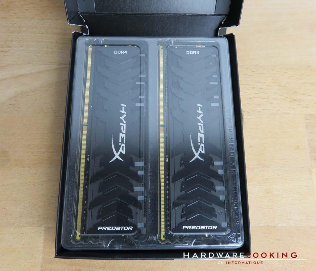 Test mémoire RAM HyperX Predator RGB DDR4 emballage