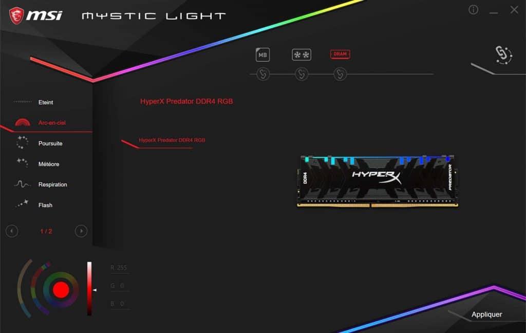 Test HyperX Predator DDR4 MSI Mystic Light