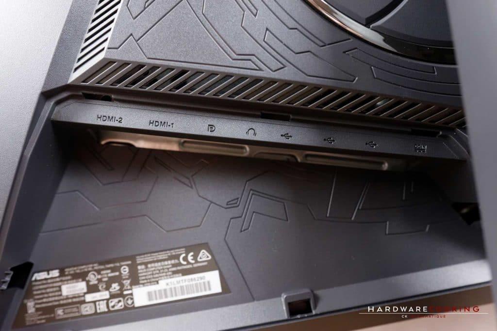 Connectique de l'écran ASUS ROG STRIX XG32VQR en test
