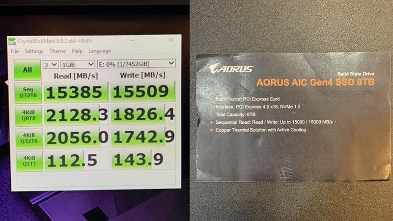 AORUS AIC Gen4 SSD 8 To 15 Go/s