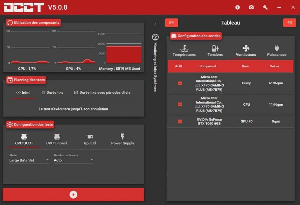 OCCT 5.0.0 ventilateurs
