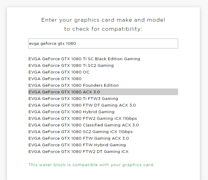 Vérifier la compatibilité de sa carte graphique pour waterblock GPU Corsair Hydro X XG7