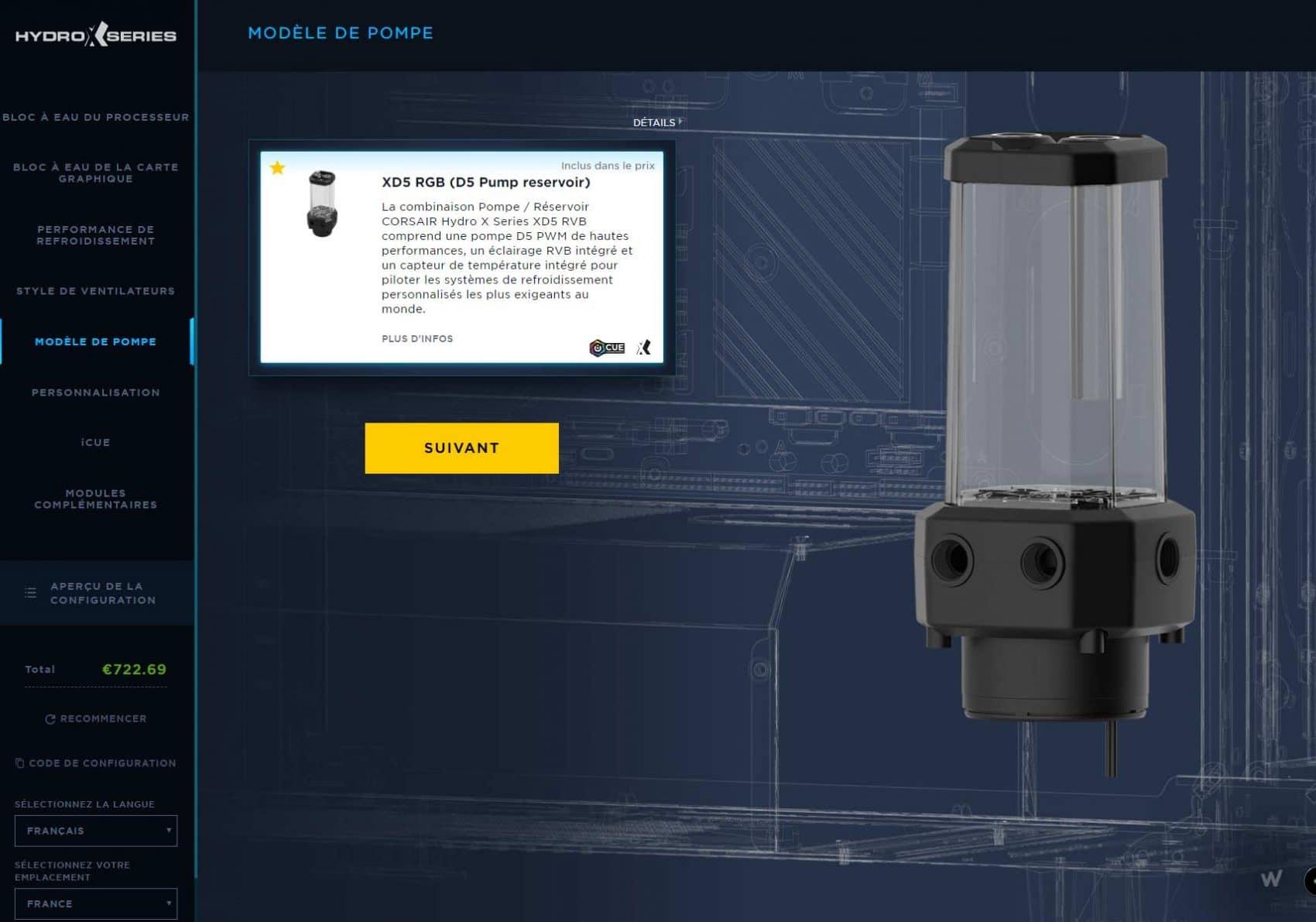 Configurateur watercooling Corsair Hydro X Series pompe et réservoir