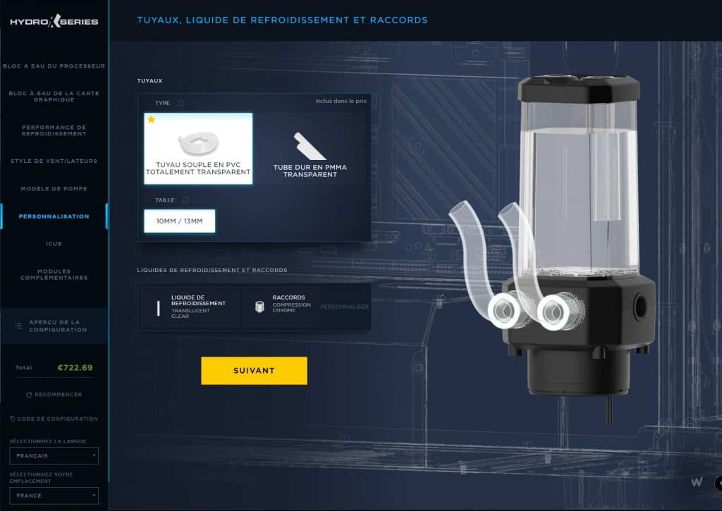 Configurateur watercooling Corsair Hydro X Series tubes rigides et souples