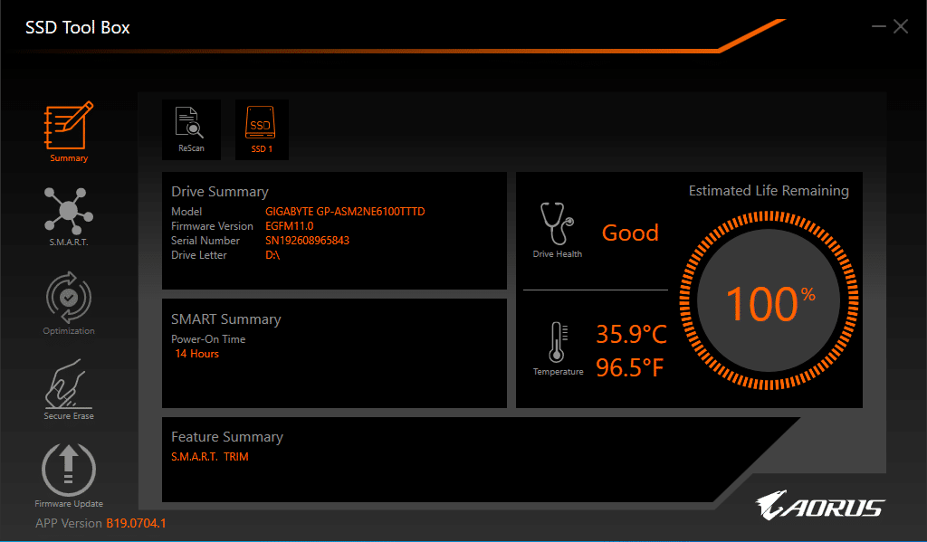 Logiciel Gigabyte AORUS SSD ToolBox