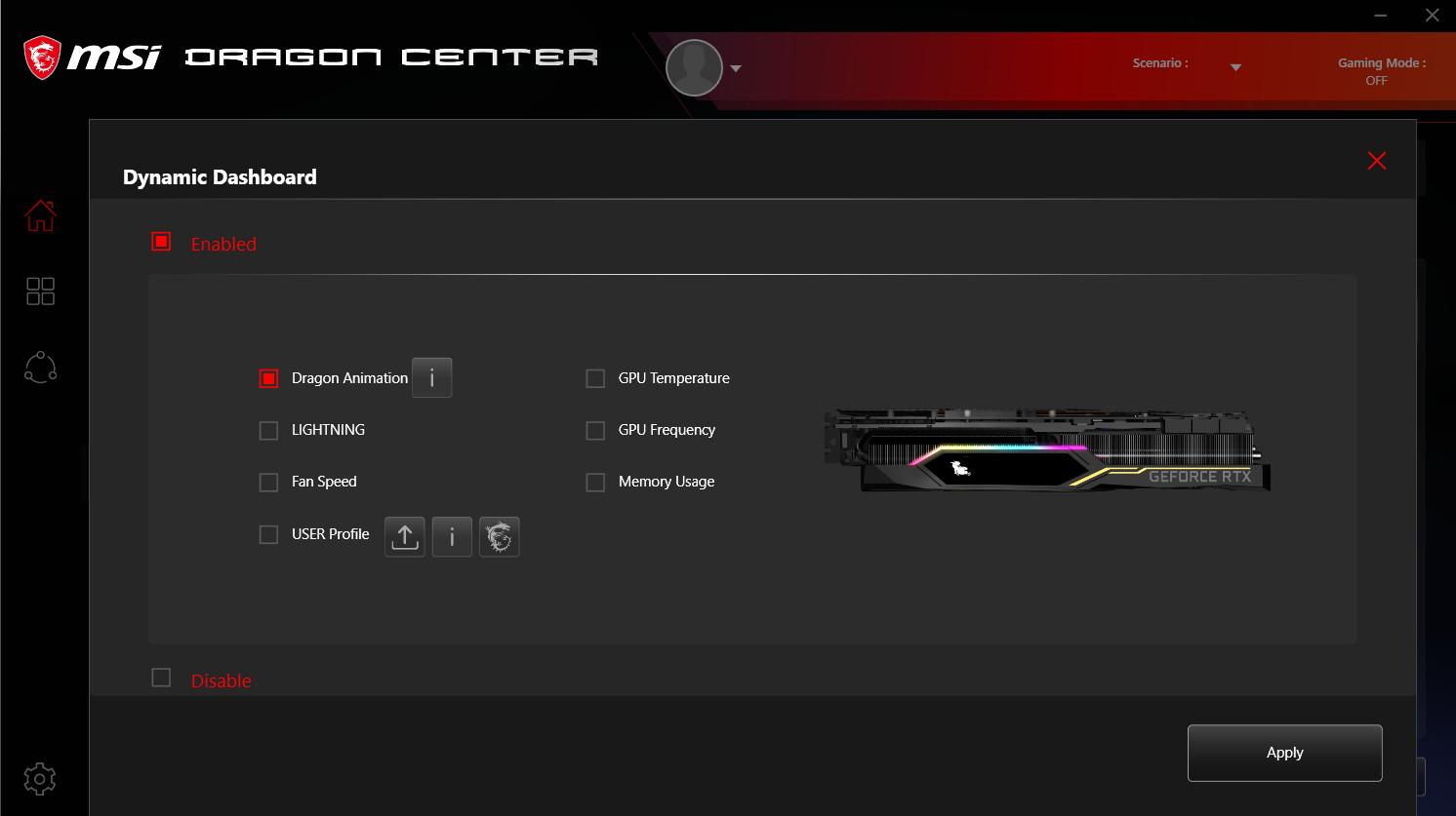 ecran OLED Dynamic Dashboard