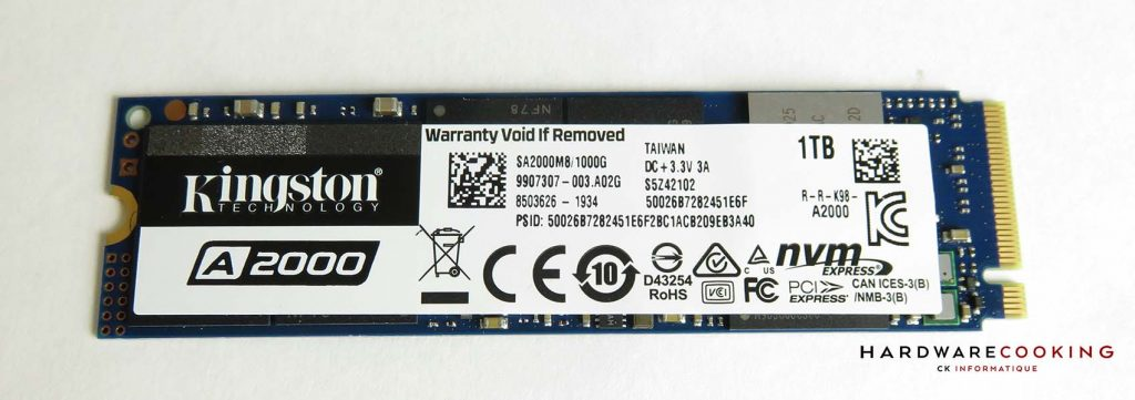 Kingston A2000 1 To SSD face
