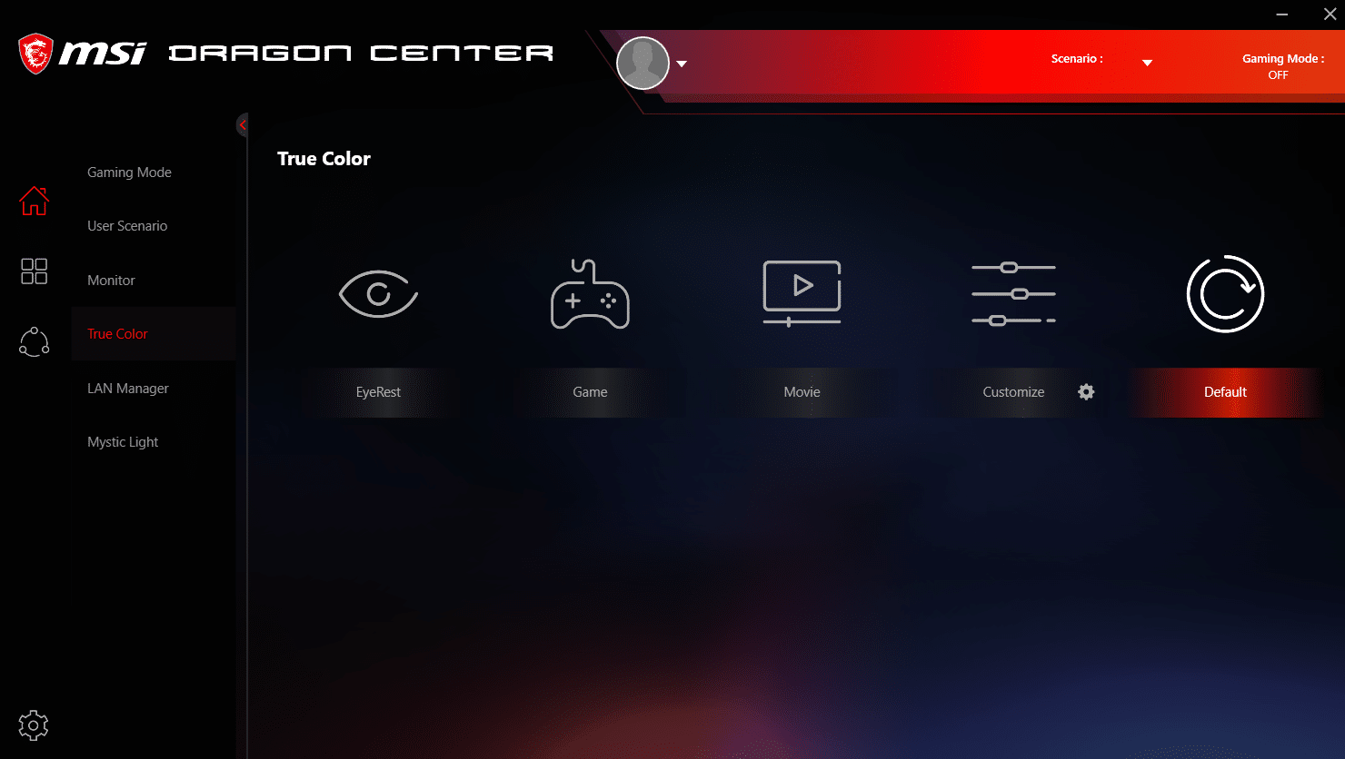 MSI Dragon Center profil d'écran