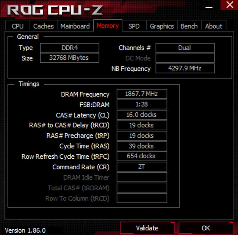 CPU-Z overclcoking RAM DDR4 G.SKILL Trident Z NEO 32 Go 3733 MHz