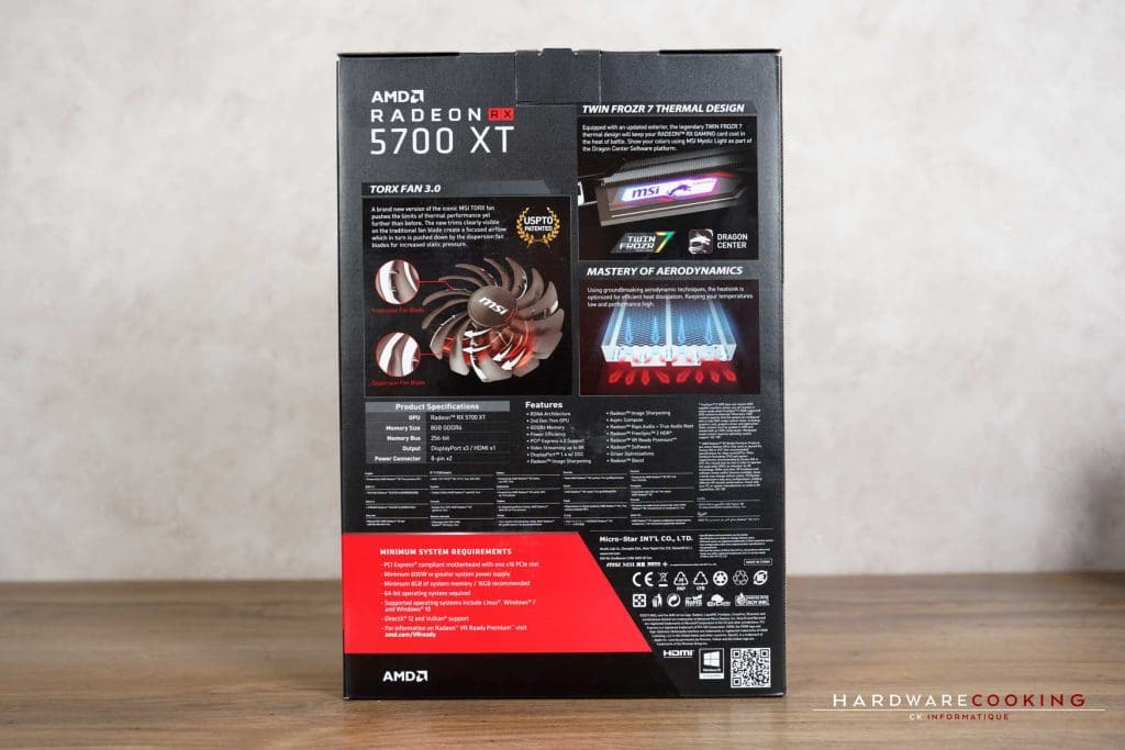 boîte MSI RX 5700 XT GAMING X