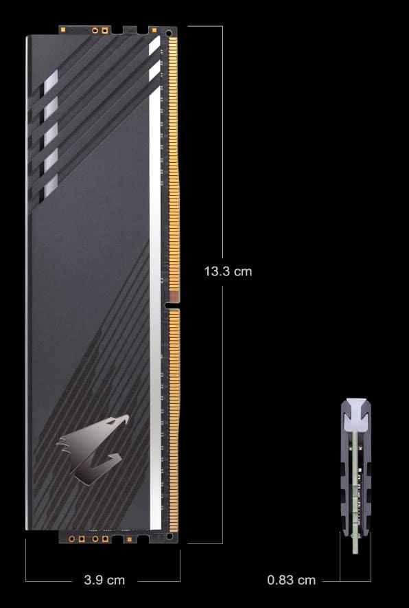 Gigabyte AORUS rgb memory DDR4-3600 MHz dimensions