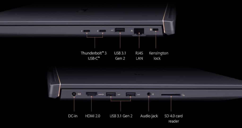 ASUS ProArt StudioBook Pro X connectique