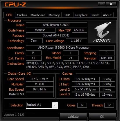 CPU-Z processeur AMD Ryzen 5 3600