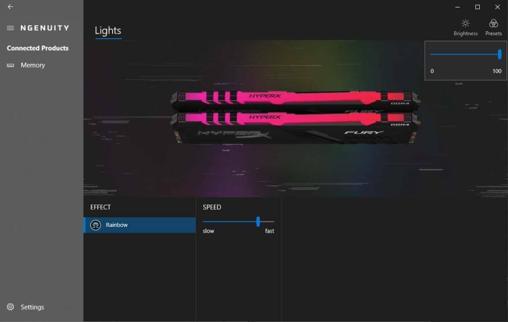 HyperX Fury RGB 3200 Ngenuity Brightness