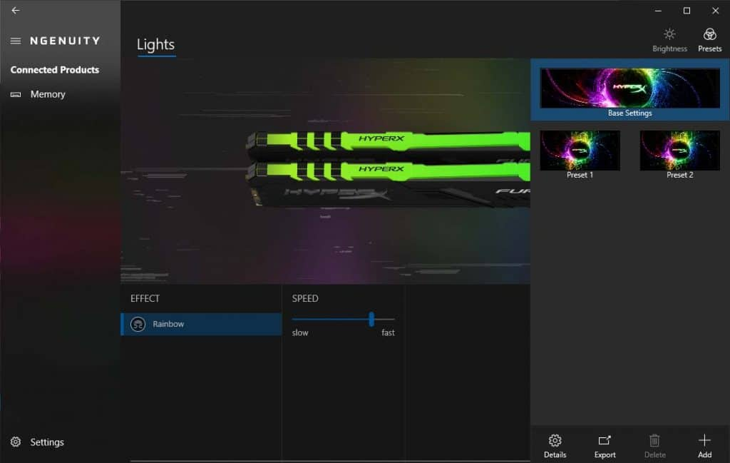 HyperX Fury RGB 3200 Ngenuity Presets