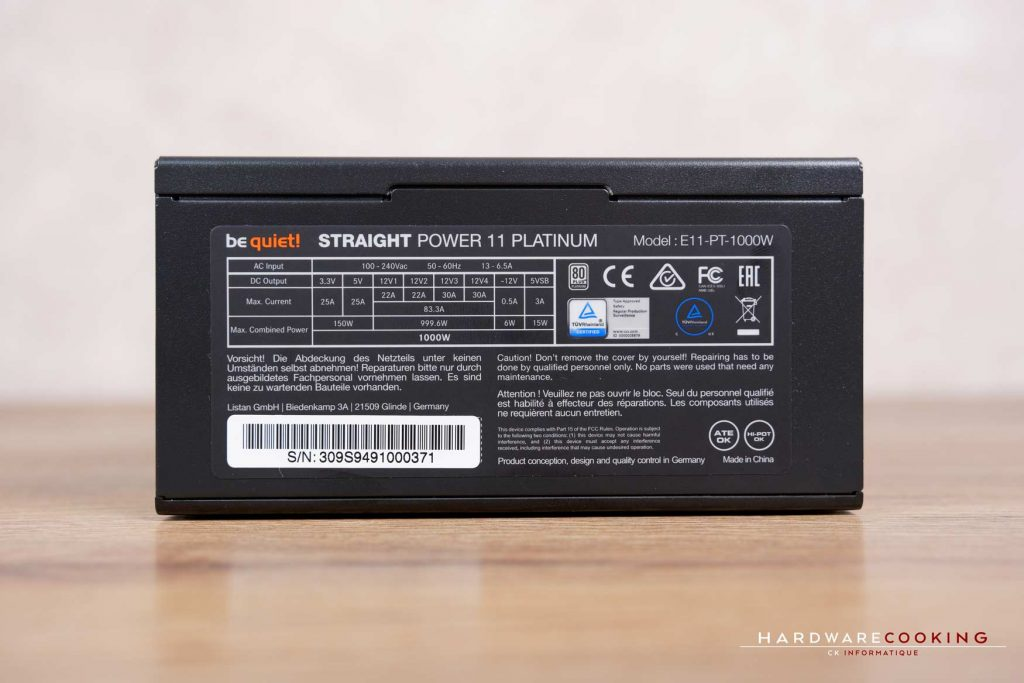 Test alimentation be quiet! Straight Power 11 1000W Platinum