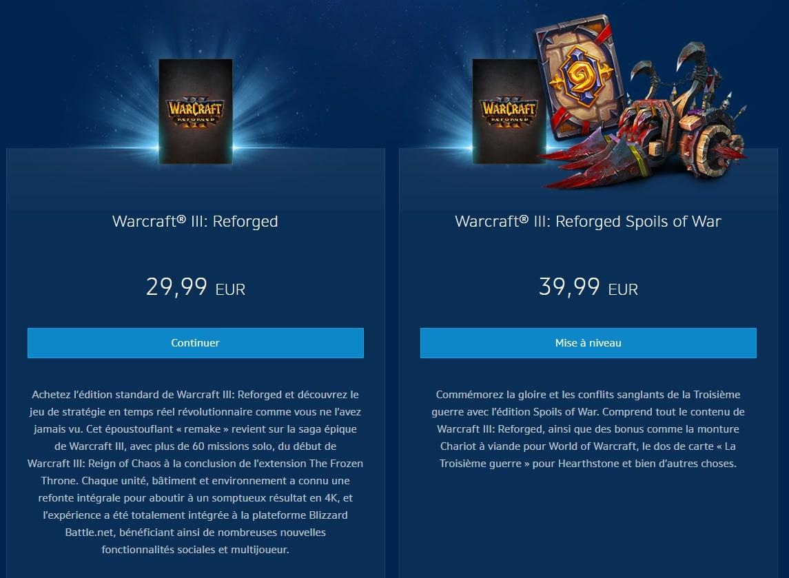 Prix édition Warcraft 3: Reforged