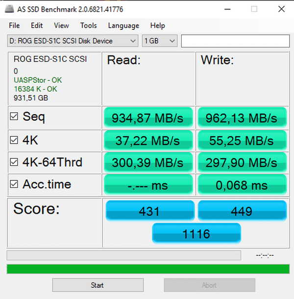 AS SSD Benchmark ASUS ROG Strix Arion