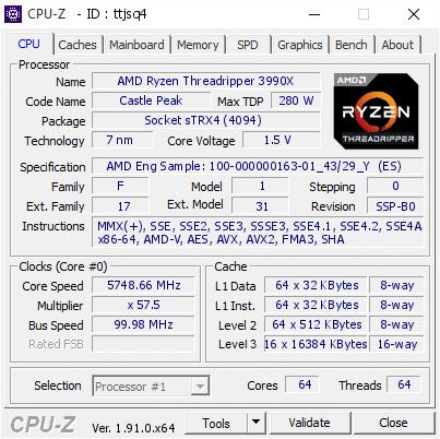 Splave CPU-Z Ryzen 3990X