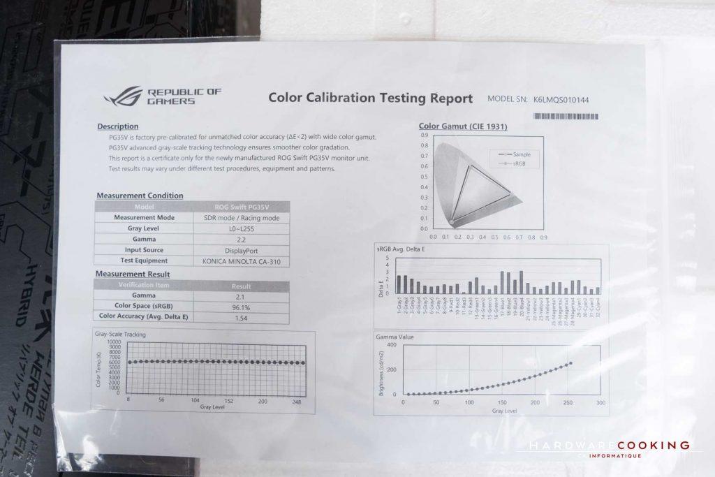 rapport de calibration ASUS ROG Swift PG35VQ