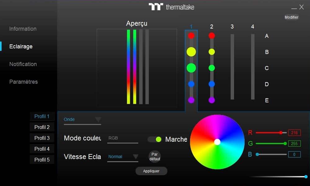logiciel TOUGHRAM RGB éclairage