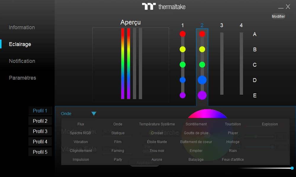 logiciel TOUGHRAM RGB éclairage effets