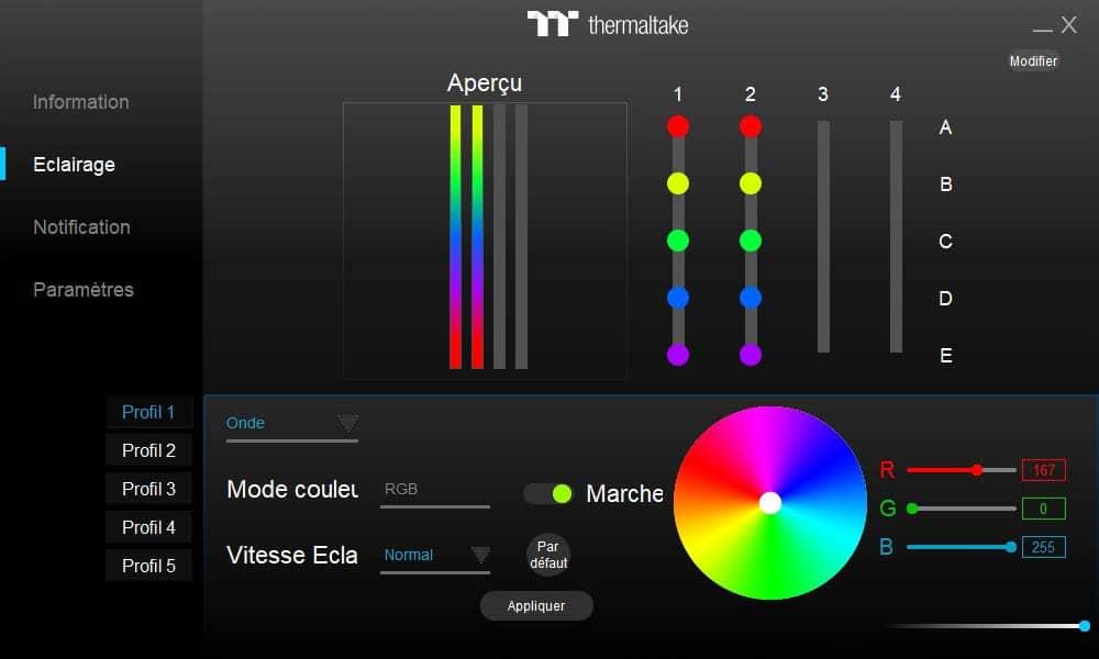logiciel TOUGHRAM RGB Eclairage