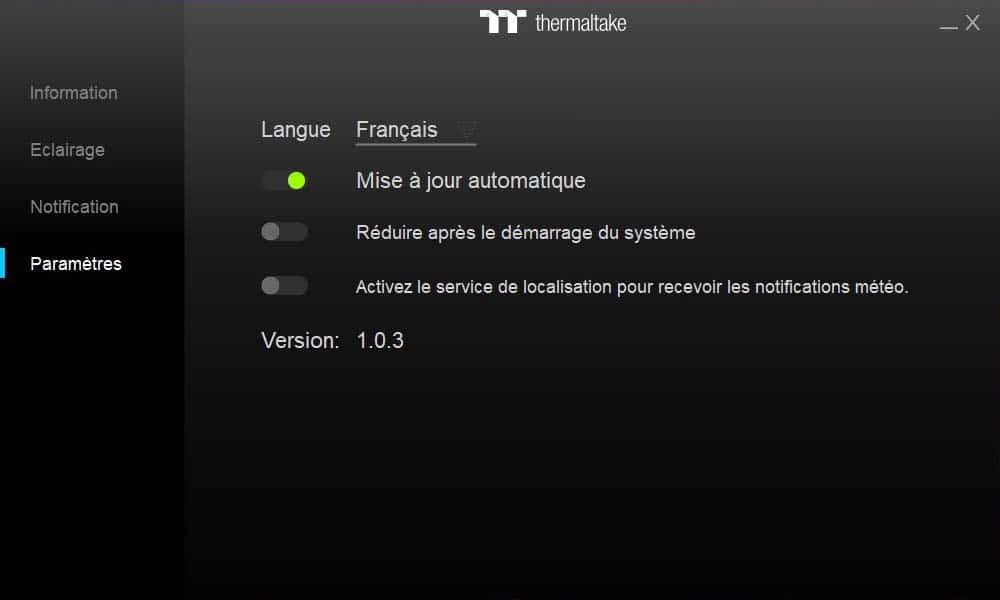 Thermaltake Toughram RGB 3600 MHz Paramètres