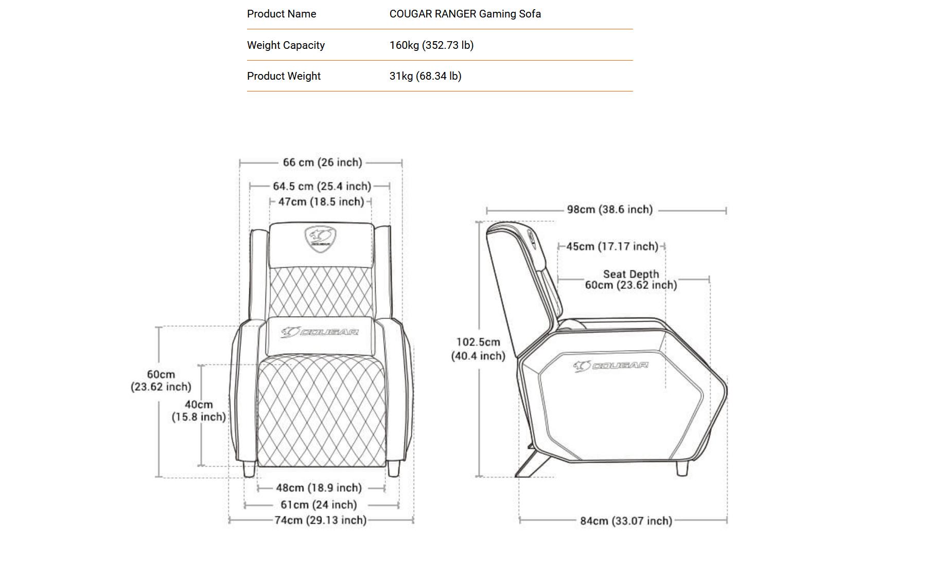 Cougar Ranger dimensions