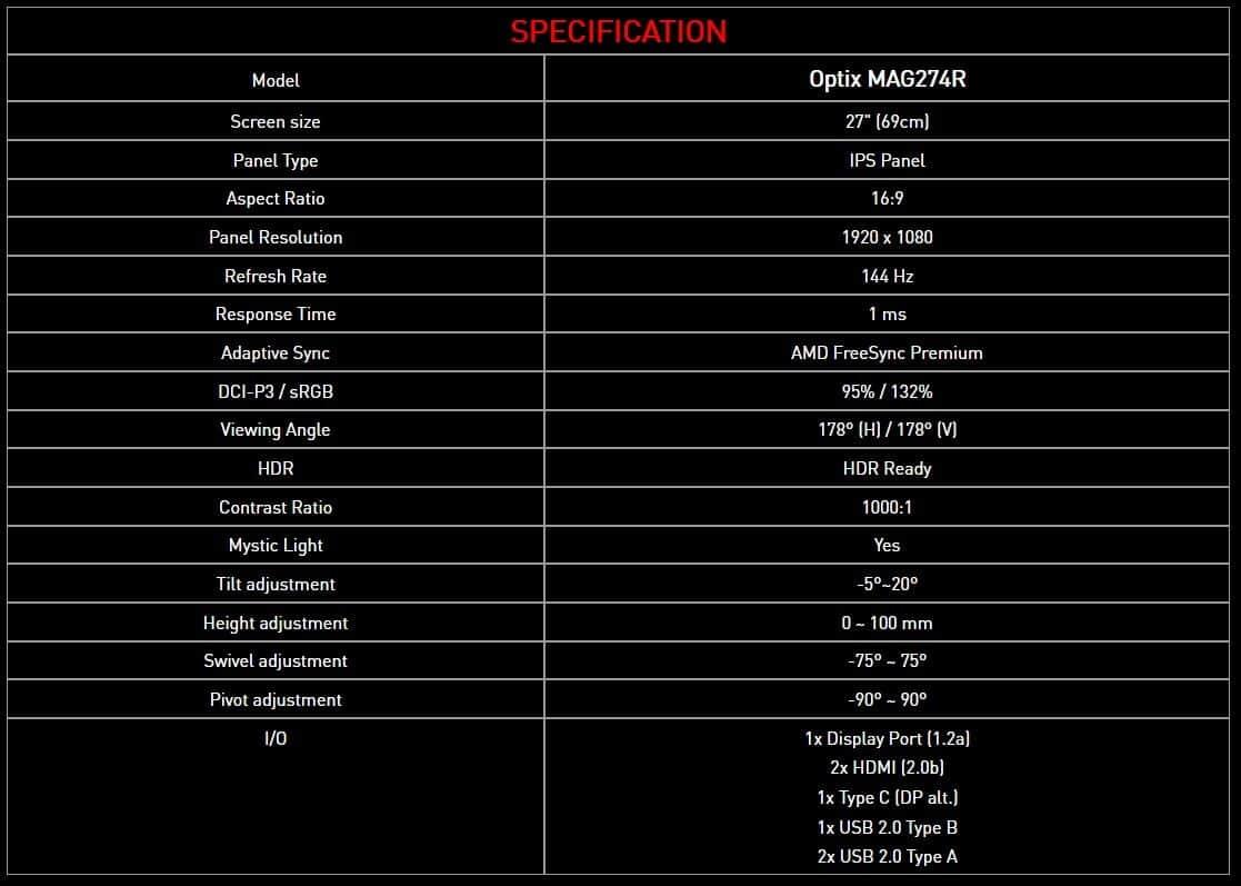 Caractéristiques MSI Optix MAG274R
