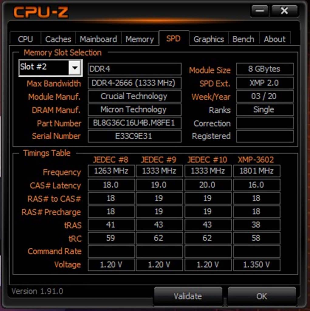 CPU-Z Crucial BALLISTIX 2x8 Go 3600 MHz