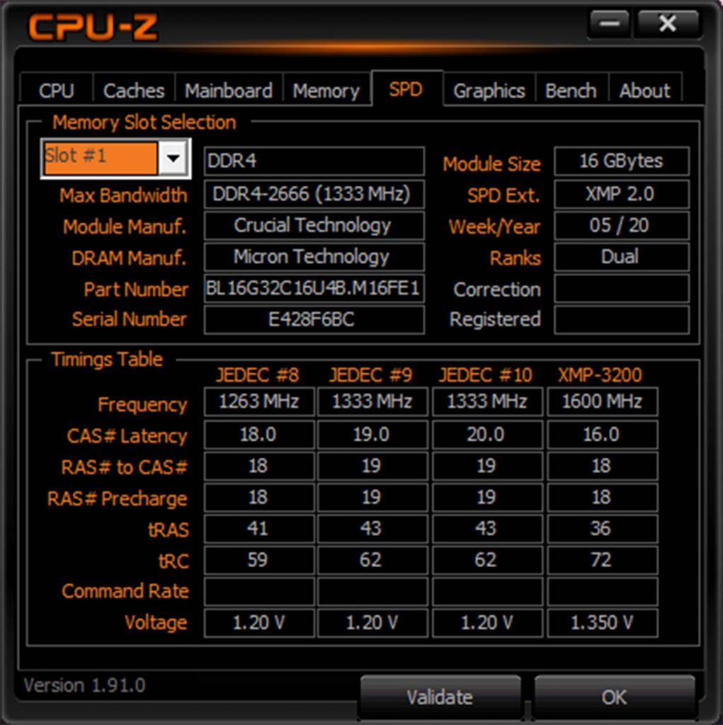 Crucial BALLISTIX CPU-Z