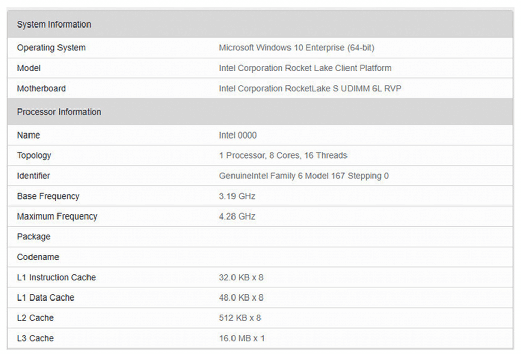 benchmark geekbench processeur Intel Rocket Lake