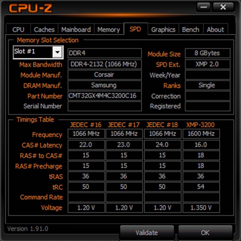 CPU-Z CORSAIR Dominator Platinum White