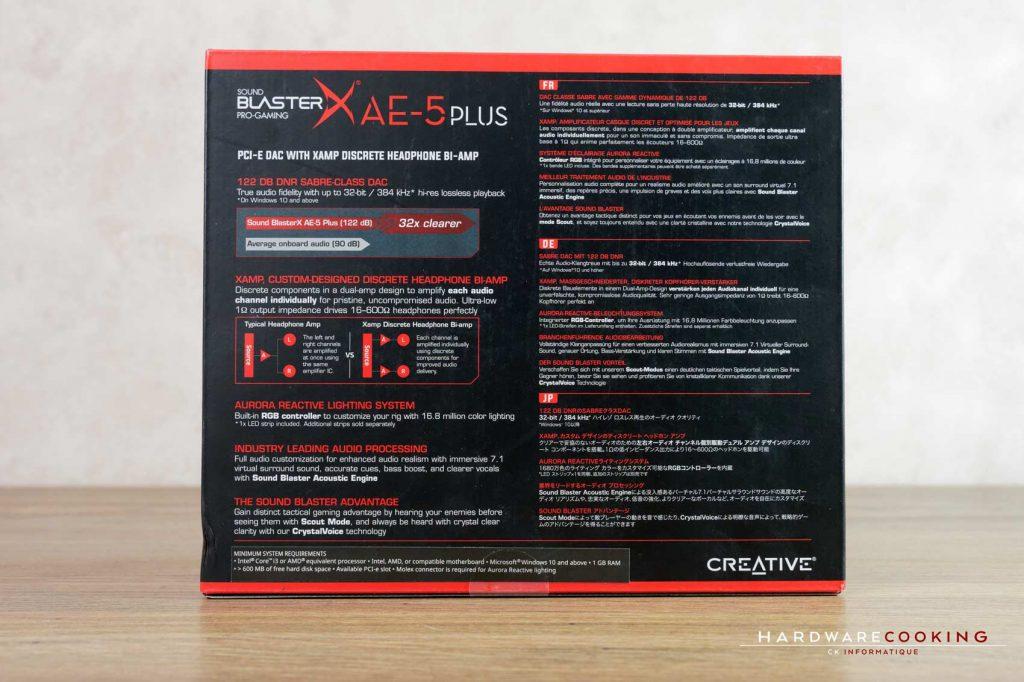 boîte Test carte son Creative Sound BlasterX AE-5 Plus