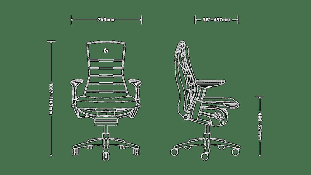 Dimensions fauteuil Embody Herman Miller x Logitech G