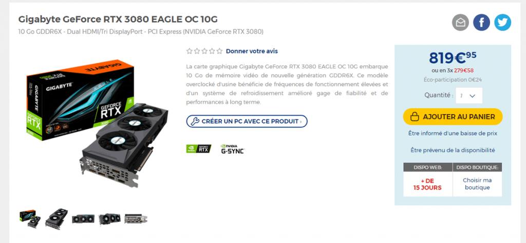 GIGABYTE RTX 3080 GAMING OC 10G LDLC