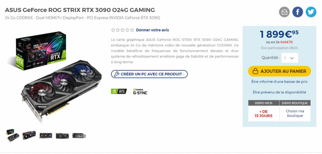 Prix ASUS ROG Strix RTX 3090 O24G GAMING