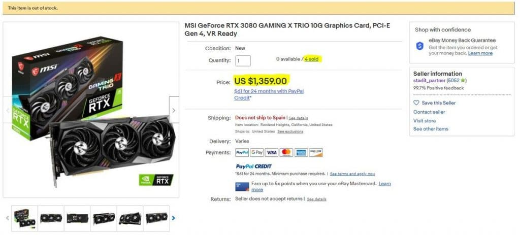 Ebay MSI RTX 3080 GAMING X TRIO