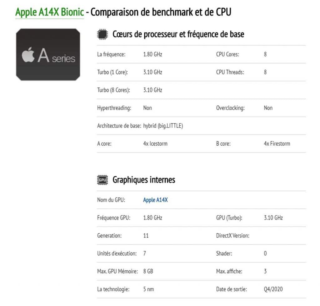 Apple A14X Bionic caractéristiques