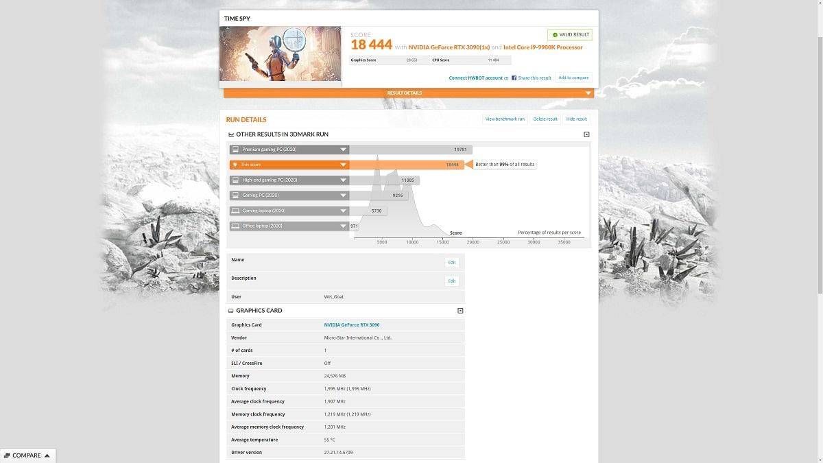 Benchmark Time Spy MSI GeForce RTX 3090 SUPRIM X