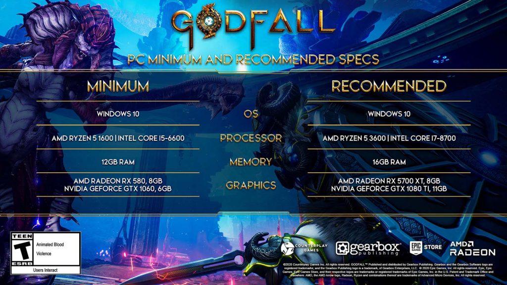 Godfall configurations recommandées