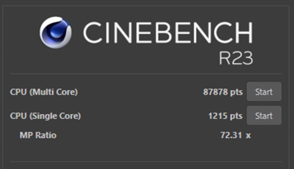 Score Cinebench R23 AMD EPYC Milan