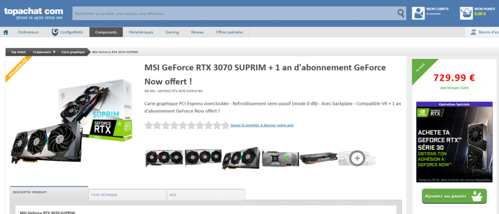 Stock MSI RTX 3070 SUPRIM