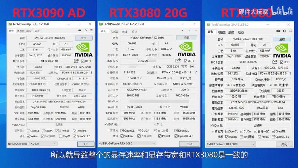 GPU-Z NVIDIA GeForce RTX 3080 Ti 20 Go
