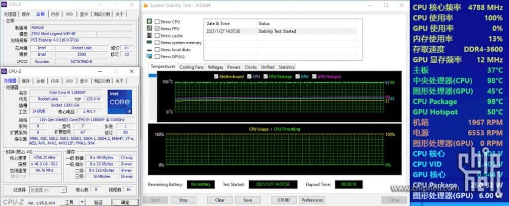 Intel Core i9-11900KF température 98 °C